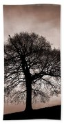Tree Against A Stormy Sky Bath Towel