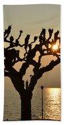 Tree In A Foggy Sunset Bath Towel