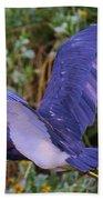 Tricolored Heron In Flight Bath Towel