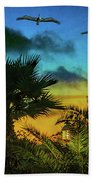 Tropical Sunset With Pelicans Bath Towel