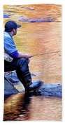 Trout Fisherman In Autumn Bath Towel
