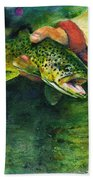 Trout In Hand Bath Towel