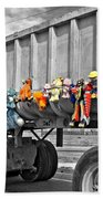 Truck And Dolls With Selective Coloring Bath Towel
