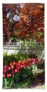 Tulips By Dappled Fence Bath Towel
