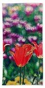 Tulips On Beautiful Bokeh Bath Towel