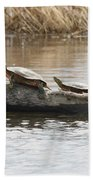 Turtles Pretending To Be Part Of The Log Bath Towel