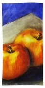 Two Apples With Blue Hand Towel by Michelle Calkins
