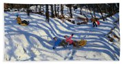 Two Boys Falling Off A Sledge Hand Towel