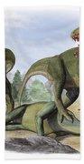 Two Cryolophosaurus Ellioti Dinosaurs Bath Towel
