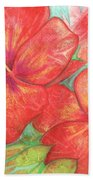 Two Hibiscus Blossoms Bath Towel