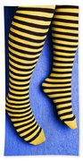 Two Legs Against Blue Wall Hand Towel