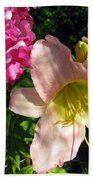 Two Pink Neighbors- Lily And Phlox Bath Towel