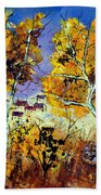 Two Trees In Fall Bath Towel