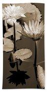 Two Waterlilies Sepia Bath Towel