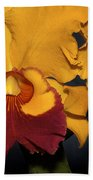 Two Yellow And Red Orchids Bath Towel