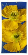 Two Yellow Iceland Poppies Bath Towel