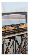 Union Pacific Locomotive Trains Riding Atop The Old Benicia-martinez Train Bridge . 5d18851 Bath Towel
