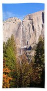 Upper Yosemite Falls In Autumn Bath Towel