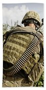 U.s. Army Mk48 Machine Gunner Patrols Bath Towel