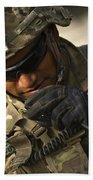 U.s. Army Soldier Communicates Bath Towel