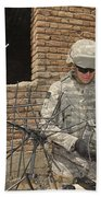 U.s. Army Soldier Configures Bath Towel