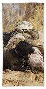 U.s. Marine And A Military Working Dog Bath Towel