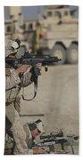 U.s. Marine Fires A G36k Carbine Bath Towel