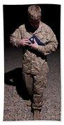 U.s. Marine Holding The American Flag Hand Towel
