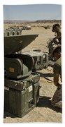 U.s. Marines Assemble A Satellite Dish Bath Towel