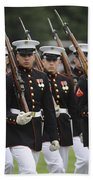 U.s. Marines March By During The Pass Hand Towel