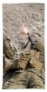 U.s. Marines Provide Suppressive Fire Bath Towel