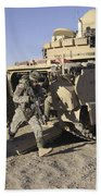 U.s. Soldiers Exit From An M2 Bradley Bath Towel