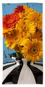 Vase With Gerbera Daisies  Bath Towel