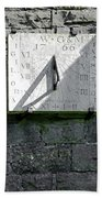 Vertical Sundial On Fenny Bentley Church Bath Towel