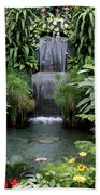 Victorian Garden Waterfall - Digital Art Bath Towel