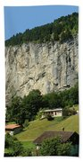 View Of Greenery And Waterfalls On A Swiss Cliff Bath Towel