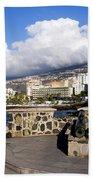 View Of Puerto De La Cruz From Plaza De Europa Bath Towel
