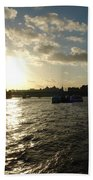View Of The Thames At Sunset With London Eye In The Background Bath Towel