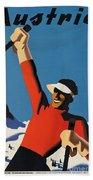 Vintage Austrian Skiing Travel Poster Bath Towel