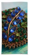 Vintage Blue And Green Rhinestone Brooch On Watercolor Bath Towel
