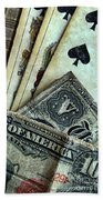 Vintage Playing Cards And Cash Bath Towel
