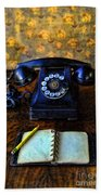 Vintage Telephone And Notepad Bath Towel