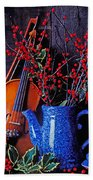 Violin With Blue Pot Hand Towel