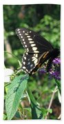 Visit From A Black Swallowtail Bath Towel