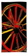 Wagon Wheel In Red Bath Towel