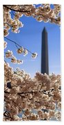 Washington Monument Cherry Trees Bath Towel