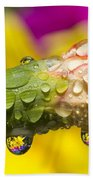 Water Drops On A Budding Flower Bath Towel