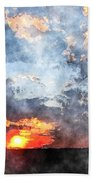 Watercolor Sunrise Bath Towel
