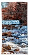 Waterfall Along A Mountain Stream Bath Towel