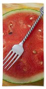 Watermelon And Fork Hand Towel
